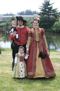 Renaissance / Elizabethan family and kids. Gorgeous gown!