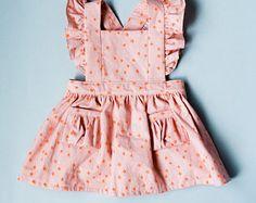 Toddler Pinafore Dress - Toddler Dress - Vintage Girls Dress-12-18mo, 18-24mo, 2T, 3T, 4T, 5T