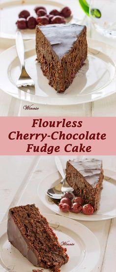 Flourless Cherry-Chocolate Fudge Cake. Gluten-free. #Passover
