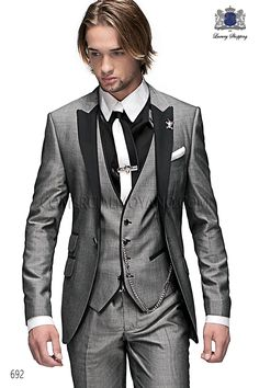 Three piece italian bespoke light gray fashion suit in New Performance fabric, with black satin fashion peak lapel and 1 button, style 692 Ottavio Nuccio Gala, 2015 Emotion collection. Tuxedo Wedding, Wedding Suits, Wedding Attire, Wedding Dresses, Wedding Tuxedos, Wedding Flowers, Bridesmaid Dresses, Mens Fashion Suits, Mens Suits