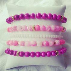 Pink Frost Stretch Bracelet Set with Gold by BrandedBeadsJewelry, $20.00