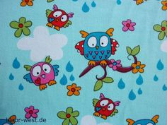 Janeas Owls Light Blue Stretchjersey by Janeas by BloorWestFabrics,
