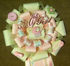 Cream pink and green baby shower mum via Etsy
