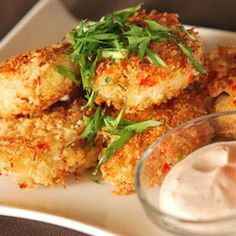 Our Signature Crab Cakes with Roasted Pepper Aioli, from ATCO Blue Flame Kitchen.