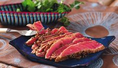 Lovin' Lemon & Herb Seared Tuna Steak- seared tuna cannot be beat. Summer Recipes, My Recipes, Savoury Recipes, Delicious Breakfast Recipes, Yummy Food, Masterchef Recipes, Seared Tuna, Tuna Steaks, Lemon Herb