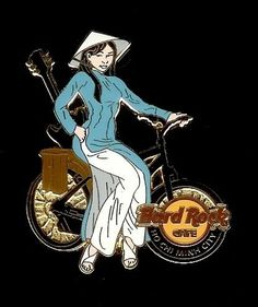 Hard Rock Cafe Ho Chi Minh City Girl on Bicycle Guitar Pin.