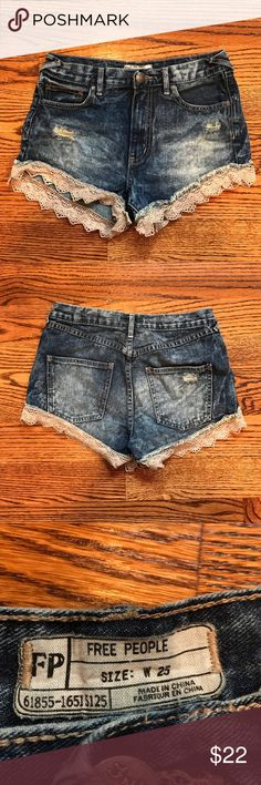 Free People Crochet Cut-Off Denim Shorts Super cute and authentic Free People cutoff denim shorts with crochet lace at the bottom. Medium wash. Great condition!! Size 25. Free People Shorts Jean Shorts