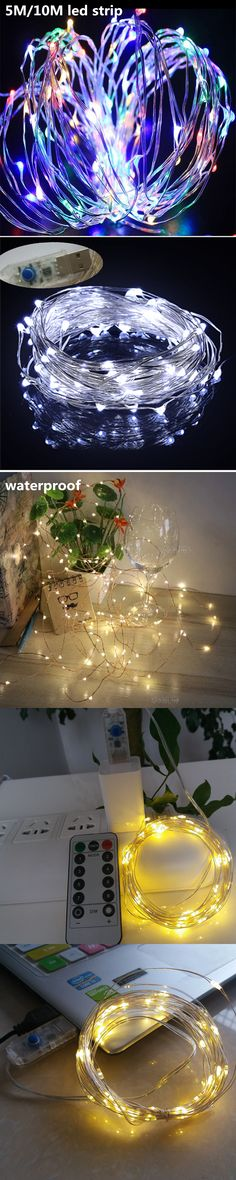 5M 50 LED Battery Operated LED Copper Wire String Lights for Xmas ...