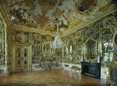 Mirror Cabinet, Wuerzburg Episcopal Residence. The Mirror Cabinet, the most precious interior decoration of the Palace, consists entirely of mirrors. It was completely destroyed during an airraid in 1945, but was restored after photographs and a watercolour.
