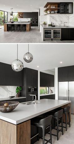 This modern kitchen, which is divided into two area, has the main kitchen with a large island, while adjacent to it, is a wet bar with storage for glasses, a small sink, and two small built-in fridges. #KitchenDesign #WetBar #KitchenIsland