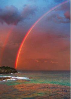 Outrageously beautiful and vivid Bondi beach rainbows, Australia