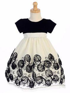 Ivory Tulle Girls Holiday Dress w. Black Velvet Bodice & Satin Floral Soutache