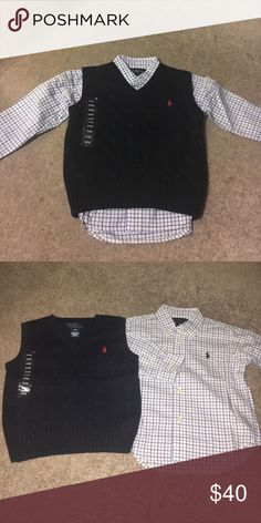RL cable knit vest and RL button up shirt This outfit is cute for any little man. Blue vest with matching button up shirt. Both for $40. You can't find these deal anywhere! Size 24m Ralph Lauren Shirts & Tops Button Down Shirts