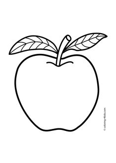 Apple coloring pages for kids (fruits coloring pages, printables)