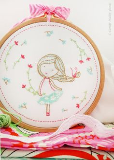 Welcome to my shop. Spring Girl Embroidery design can be appliqued to a pillow cover or a bag. It can also make an excellent wall decoration,