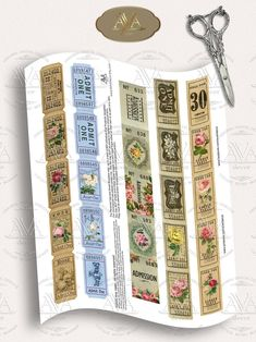 Rose Tickets Strips Printable Journal tickets Digital download   Etsy Journal Pages, Junk Journal, Journals, Bullet Journal, Printable Tickets, Benjamin Bunny, Book Labels, Vintage Bee, Types Of Printer