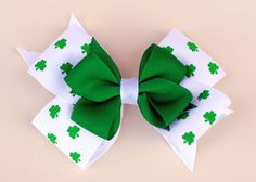 St Patty's Stacked Bow by uhohbabies on Etsy, $10.00