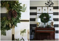 layering a wreath on gallery wall (our Christmas home tour at emilyaclark.com)