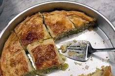 Traditional Greek phyllo pie made with leeks and Greek cheeses. Prasopita is a showstopping, vegetarian main dish. Recipe and tips for phyllo dough here> Vegetarian Main Dishes, Vegetarian Options, Greek Recipes, Pie Recipes, Leek Pie, Greek Cheese, Lasagna Pan, Cheese Pies, Phyllo Dough