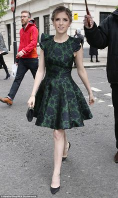 Anna Kendrick looked radiant in a green floral print dress as she arrived at BBC Radio studios for an interview with Lauren Laverne on Wednesday afternoon