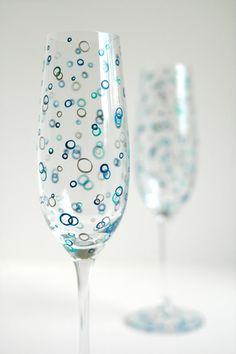 Ocean Bubbles Personalized Champagne Flutes by MaryElizabethArts.com $60.00/Pair
