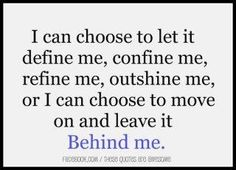 I like this. Leave it behind girl; leave it behind.