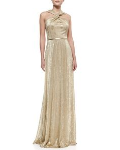 Halter-Style Metallic Gown, Gold by David Meister at Neiman Marcus.