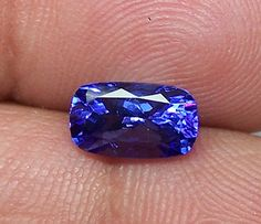 1.84 Cts Cornflower Blue Tanzanite Long Cushion D Block AAA Natural Gemstone > Rich Blue >For Engagement RingPendantBracelet