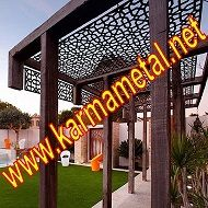 Ahşap ve metal  karışımı  dekarasyon, cnc lazer kesim selçuklu  deseni pergola tavan panelleri