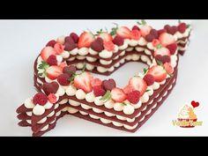 Trend Cake 2018! Red Velvet Cream Tart, Number Cake ❤️ Valentine's day edition - YouTube