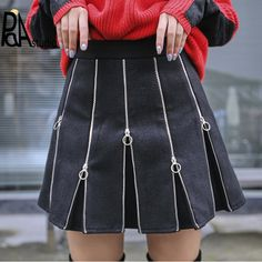 Suede Skirt Metal Buckle Zipper Gothic Punk Rock Harajuku Streetgoth Source by Alternative Mode, Alternative Fashion, Winter Skirt Outfit, Skirt Outfits, Emo Outfits, Denim Fashion, Womens Fashion, Rock Fashion, Fashion Boots