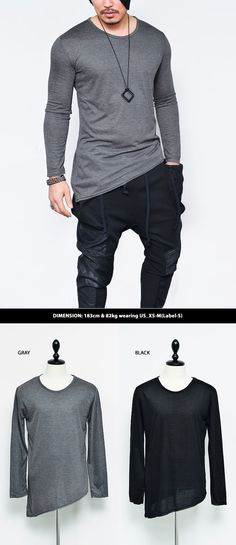 Tops :: Diagonal Unbalance Cut Slim Round-Tee 465 - Mens Fashion Clothing For An Attractive Guy Look