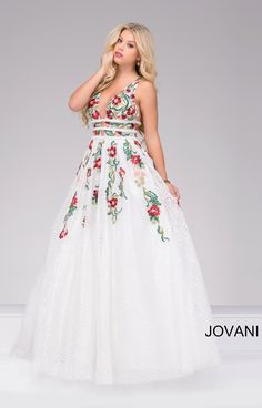 4071465619 Jovani 48891 Gorgeous ivory floor length sleeveless lace prom ballgown  features multi color floral embroidery