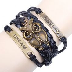 $3.91 Chic Night Owl Embellished Multi-Layered Chain Bracelet For Men and Women