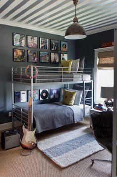 Suzie: Sally Wheat Interiors - Fun boy's bedroom with white & silver metallic striped ceiling, ...