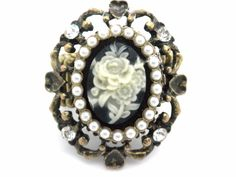 New Silver Crystal Rose Cameo Women Ring Stretch New #Unbranded #Statement