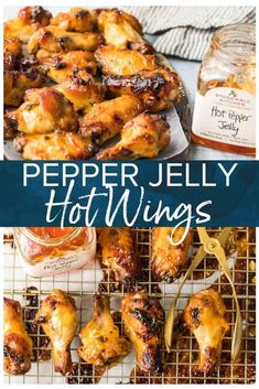 These pepper jelly chicken wings are perfect for game day entertaining! Perfectly spicy, these oven baked wings are perfect for a crowd and easy to make. Made with just a few ingredients they make for a really flavorful appetizer. Parmesan Chicken Wings, Baked Chicken, Chicken Recipes, Chicken Wingettes, Honey Glazed Chicken, Hot Pepper Jelly, Game Day Appetizers, Wing Recipes, Amigurumi