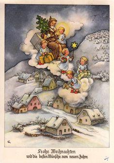 AK, Weihnachtsmann u. Engel kommen mit Geschenken auf der Wolke zur Erde herab* | eBay