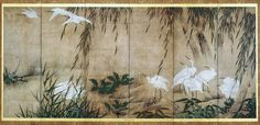 Egrets, willows, and autumn plants (one of a pair of Japanese folding screens). 柳、秋草に白鷺図屏風. 1700-1800. : Ink and colors on paper. Asian Art Museum of San Francisco.