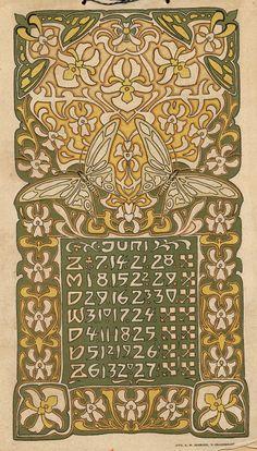 Visser, L., illustrator. Dutch calendar, March 1903.