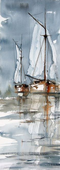 Watercolor sailboats (the artist found a fun balance between impressionism and realism, which is gorgeous)