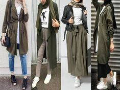 Olive hijab outfits-Winter Hijab fashion combinations – Just Trendy Girls Modern Hijab Fashion, Street Hijab Fashion, Hijab Fashion Inspiration, Muslim Fashion, Mode Inspiration, Look Fashion, Trendy Fashion, Modest Fashion, Casual Hijab Outfit