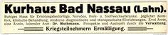 Original-Werbung/ Anzeige 1915 -  KURHAUS BAD NASSAU / KRIEGSTEILNEHMER ERMÄSSIGUNG - ca. 110 x 20 mm