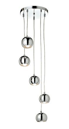 Cascade Brushed Chrome effect 5 Lamp Ceiling light - B&Q for all your home and garden supplies and advice on all the latest DIY trends New Living Room, Light Fittings, Garden Supplies, Wind Chimes, Pendant Lighting, Chrome, Home And Garden, Ceiling Lights, Glass