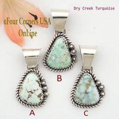 Petite Dry Creek Turquoise Sterling Pendant Navajo Artisan Alice Johnson NAP-1562 Four Corners USA OnLine Native American Jewelry