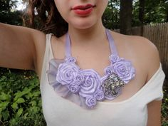 Lavender Rose  Flower Necklace Statement Bib by RosesForClementine, $35.00  really dresses up a plain top