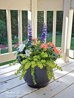 I created these beautiful planters in shades of green, white, coral, and blue using a few simple, long-blooming flowers. I added gravel and newspaper to the b… Container Flowers, Flower Planters, Succulent Containers, Fall Planters, Planters For Front Porch, Full Sun Container Plants, Front Porch Flowers, Planter Pots, Patio Planters