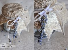 wedding invitation and favor jar (2 in 1) with theme the lavender. it contain an fabric invitation and sugar dragees with almond.