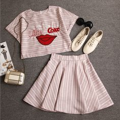 """Item Type:Two-Piece Material:Cotton Sleeve Length:Short Sleeve Collar:Round Neck Pattern:Stripe Style:Fashion Color:Pink, Gray XS (US size) Bust: 31-33"""", Waist: 23-25"""", Hips: 33-35"""" S (US size) Bust:"""