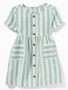 Striped Waist-Defined Shirt Dress for Toddler Girls Frocks For Girls, Toddler Girl Dresses, Little Girl Dresses, Toddler Girls, Baby Girl Dress Design, Girls Frock Design, Baby Frocks Designs, Kids Frocks Design, Kids Dress Wear